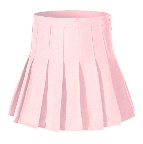 Beautifulfashionlife Women's High Waist Solid Pleated Mini Skirt(M, Pink)