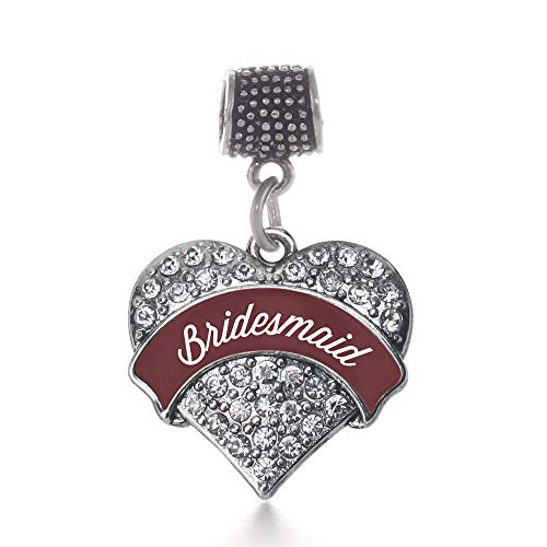 Inspired Silver Burgundy Bridesmaid Pave Heart Memory Charm Fits Pandora Bracelets & Compatible with Most Major Brands such as Chamilia, Murano, Troll, Biagi and other European Bracelets