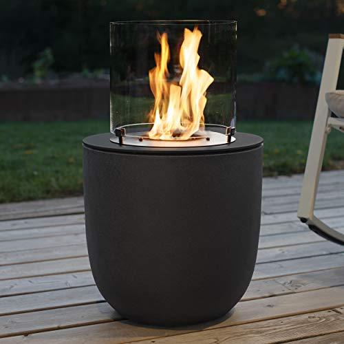 muenkel design Vagos – Asphalt-schwarz – Bio-Ethanol Feuerstelle Gartenfackel Terrassenfeuer mit Round Burner 300 Brennkammer