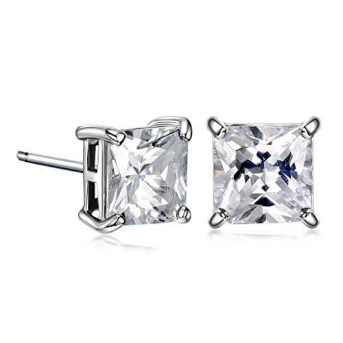 GULICX White Gold Electroplated 7mm Square Stone CZ Stud Earrings White Clear Unisex Men Women
