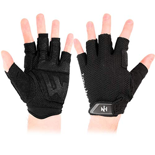 NH Weight-Lifting Crossfit Workout Fitness Gloves, Callus-Guard Gym Breathable Non-Slip Fingerless Grips, Support Cross-Training, Cycling, Bodybuilding, Rowing, Power-Lifting, Pull Up for Men & Women