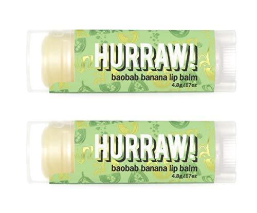 Hurraw Baobab Banana Lip Balm, 2 Pack