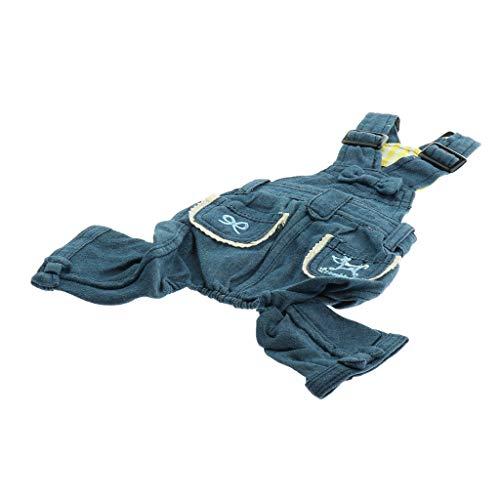perfk Modische Latzhose Trägerhose Jeans Hose Overall Jumpsuit für Hunde - Blau, L