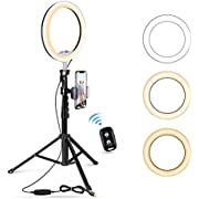 """10.2"""" Selfie Ring Light with Tripod Stand & Cell Phone Holder for Live Stream/Makeup, UBeesize Mini Led Camera Ringlight for YouTube Video/Photography Compatible with All Phones (Black)"""