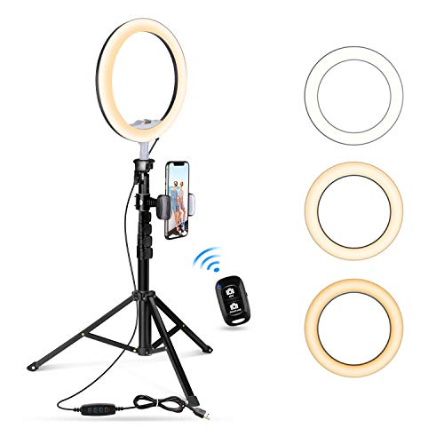 "10.2"" Selfie Ring Light with Tripod Stand & Cell Phone Holder for Live Stream/Makeup, UBeesize Mini Led Camera Ringlight for YouTube Video/Photography Compatible with All Phones (Black)"