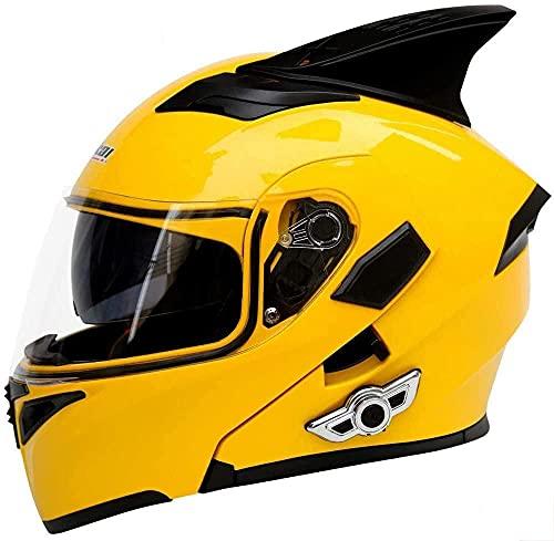 Casco Bluetooth para motocicleta, con cuernos, doble lente frontal antivaho y antirreflectante, actualización Bluetooth K5, micrófono integrado 3D, certificación de calidad DOT/ECE, 1, L