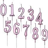 Yaomiao 10 Pezzi Compleanno Numerale Candele Torta Numerale Candele Numero 0 - 9 Glitter Torta Topper Decorazione per Bomboniera Festa di Compleanno (Rosa)