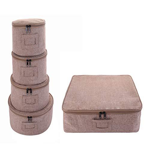 Vajilla de 5 piezas para proteger o transportar vajilla – servicio para 12 – protección de platos redondos y tazas, protectores de fieltro para platos, porcelana fina 5 size negro
