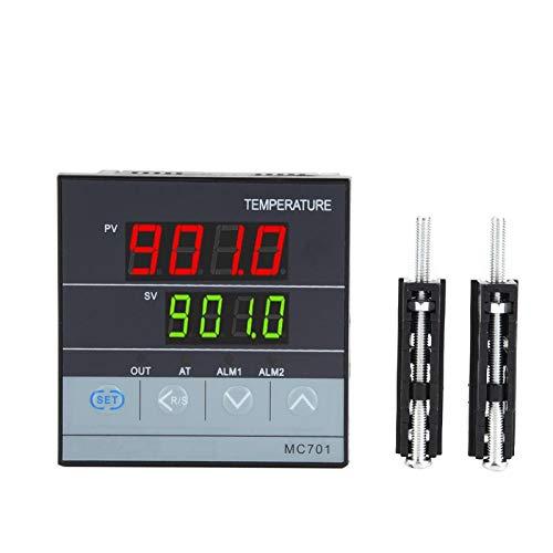 Controlador de temperatura PID digital, MC701 Controlador de temperatura PID digital K Tipo PT100 Entrada de relé Salida SSR, Carcasa resistente retardante de llama, Impermeable, a prueba de polvo y a
