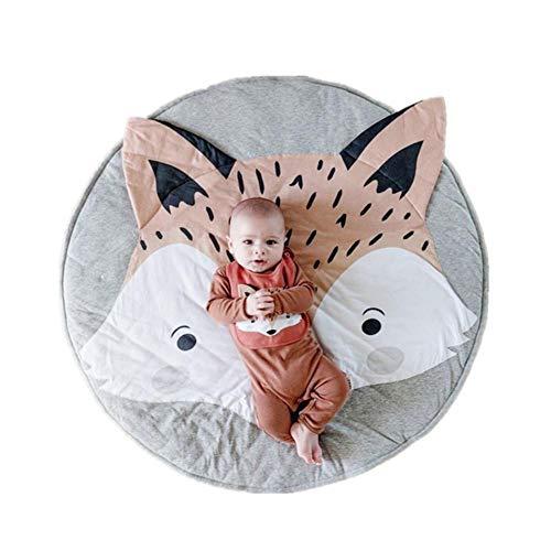 SmallPocket Tapis de jeu rond pour bébé motif de renard mignon tapis rampant doux tapis de rangement jouets organisateur de rangement pour bébé enfants tout-petits (diamètre 85 cm)