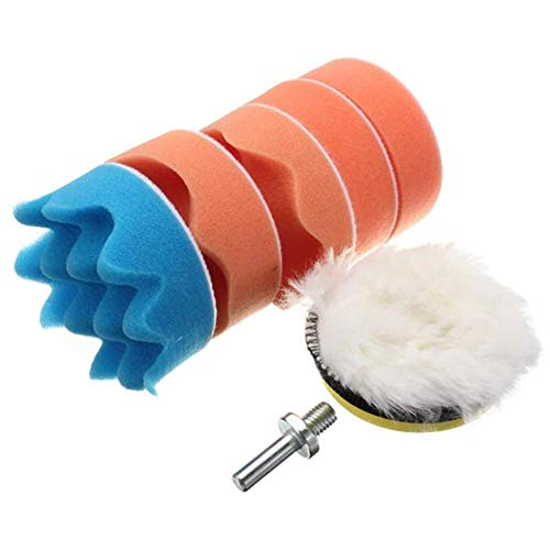 ZYL-YL 7pcs 3 Inch Wheel with M10 Drill Adapter Buffing Pad Polishing Waxing Abrasive