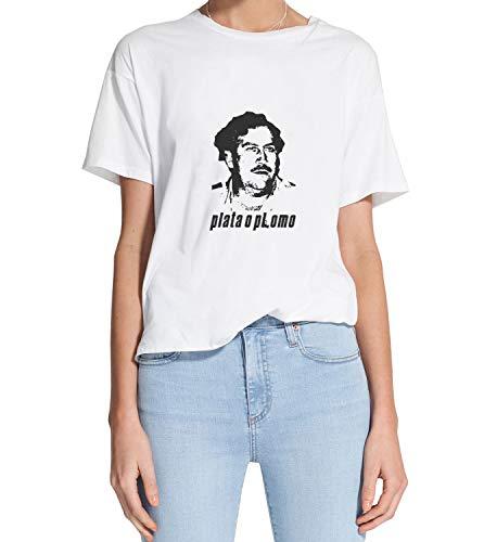 Narcos Escobar Plata O Plomo_MRZ1177 Camiseta 100% Algodón para Mujer, Camiseta de Verano, Regalo, Mujer, Camisa Casual - blanco - Small