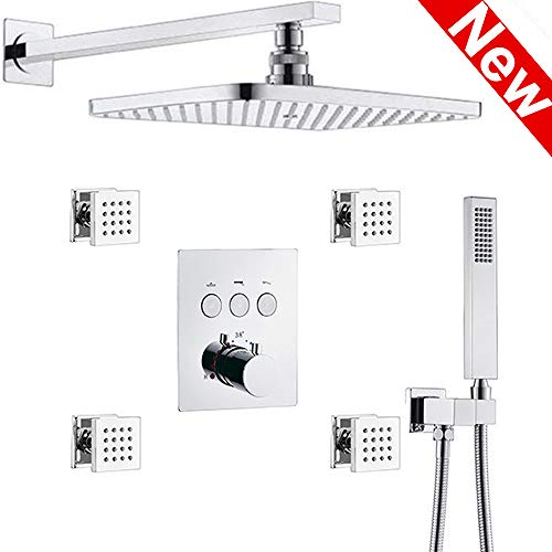 AYIVG Thermostatic Brass Rectangular 12 x 8 Inch Rainfall Shower System With 4 PCS Body Jets Mixer...