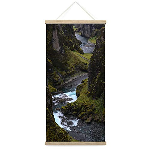 """Bestdeal Depot Hanging Poster Between Valleys IV Landscape Multicolor Photography Relax/Calm Traditional Waterfall Canvas Prints Wall Art for Living Room, Bedroom - 18""""x36"""""""