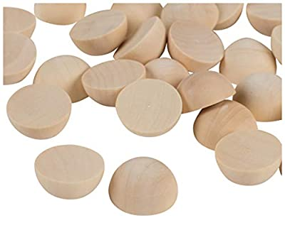 Split Wood Balls - 100-Pack Unfinished Half Wooden Balls, Mini Hemisphere, Half Craft Balls for DIY Projects, Kids Arts and Craft Supplies, 1 Inch Diameter