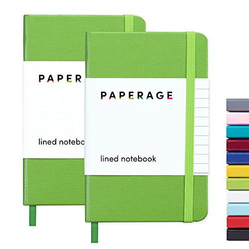 """2-Pack Pocket Notebook Journal Notepad Small, College Ruled, 3.7"""" x 5.6"""", Hard Cover Mini Journal, 100 GSM Thick Paper, Inner Pocket (Green, Lined)"""
