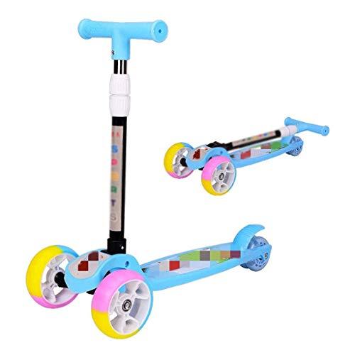 ygqtbc Niños Kick Scooter con Altura Ajustable, Lean en Steer, Intermitente Ruedas for niños 3-8 años (Color : A)