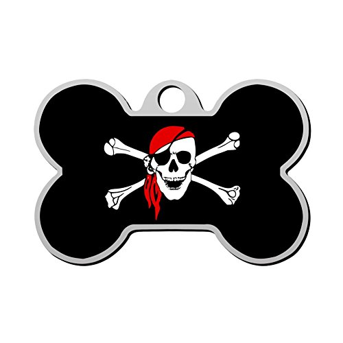 HAOPENGYOU Pirate Custom Pet ID Tags Personalized Print Front and Back Bone Shape Dog Tags & Cat Tags