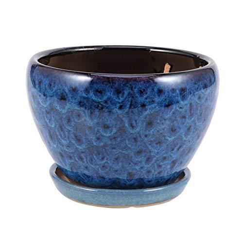 1 Set di Pentole Unici, Vasi di Fiori, Vasi di Ceramica E più Carne, della Casa Artigianato Vasi di Fiori Creativi (Color : As Shown Dark Blue, Sheet Size : 12X16CM)