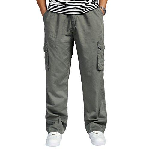 Lvguang Pantalons Cargo Hommes Multipoches Taille Elastique Coupe Large Style Casual Outdoor Pantalon Droit (Armée Vert, Asia 2XL)