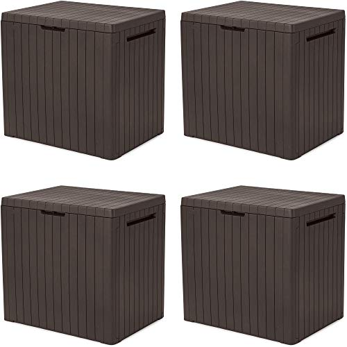 KETER City 30 Gallon Resin Deck Box for Patio Furniture, Pool Accessories, and Storage for Outdoor Toys, Brown (Fоur Расk)