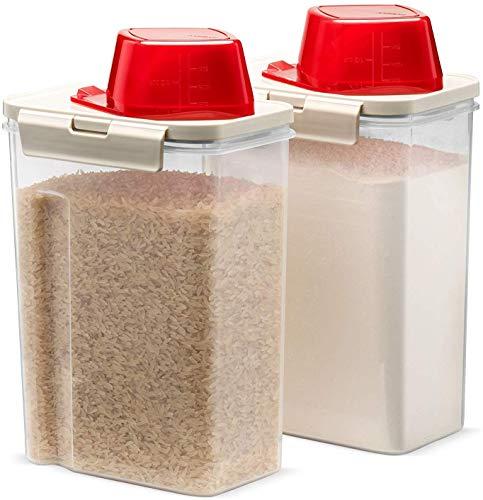 Komax Reisbehälter, Frischkörnchen, 2 Quart Trockenfutterspender, geeignet für Reis, Tierfutter und Getreide, mit Deckel und Messschaufel (1 Tasse), BPA-frei und spülmaschinenfest