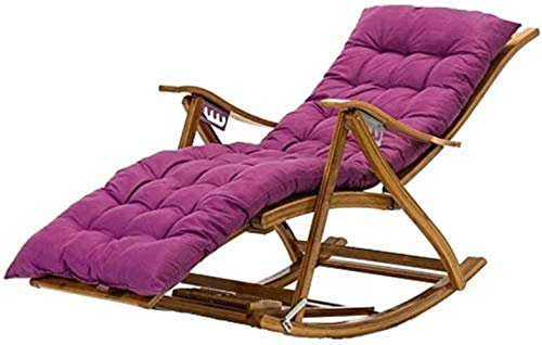 Chaise Balancelle Loisirs avec Coussins de Jardin Fauteuil inclinable Patio Reclining Pliantes Jardin balancelle réglable avec télescopique Repose-Pieds Dossier Bamboo Lounge GR