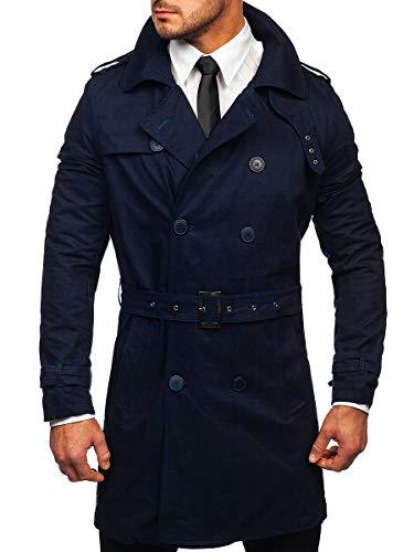 BOLF Hombre Gabardina Doble Botonadura con Cinturón Cuello Reversible Cazadora de Algodón Ropa de Abrigo Estilo Casual 4D4