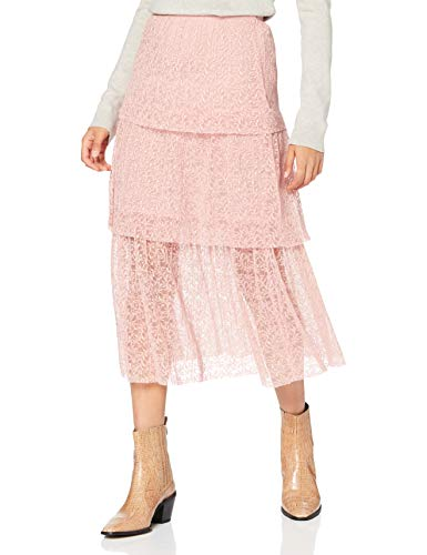Miss Selfridge Petite Blush Lace Tiered Skirt Gonna, Arrossire, 6 Donna