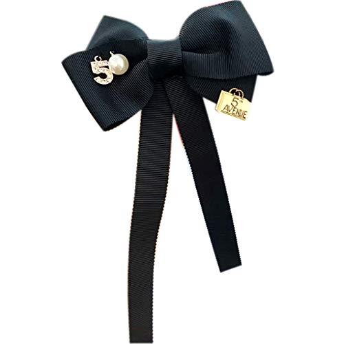 Damen-Brosche mit langen Schleifen, Zahl 5, Buchstabenimitation, Perlen-Reversnadel, Schal-Schnalle, Schmuck, Corsage Krawatte mit Schwarz