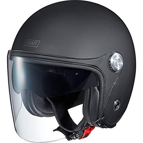 Craft Jethelm Motorradhelm Helm Motorrad Mopedhelm Jethelm Visor long 1.0 3C Matt Black XL, Unisex, Chopper/Cruiser, Ganzjährig, matt schwarz