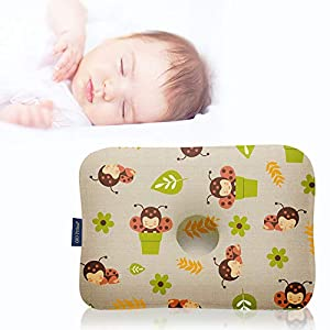 crib bedding and baby bedding gio pillow 3d air mesh toddler pillow, premium head shaping pillow, flat head syndrome prevention, made in korea [lady bird/toddlers 6-24 months]