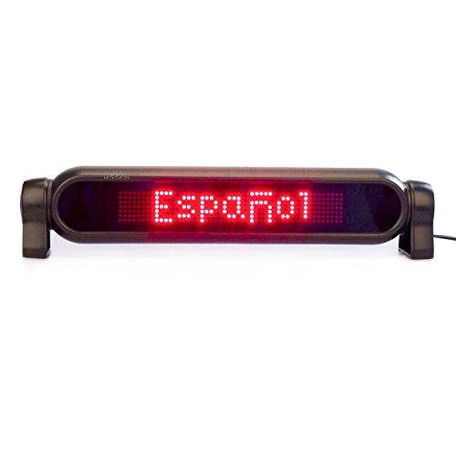 Leadleds 7x 50píxeles mando a distancia LED coche trasero con texto en inglés de desplazamiento rojo mensaje, mando a distancia y DC12V encendedor de cigarros Inlcuded–rápido programa