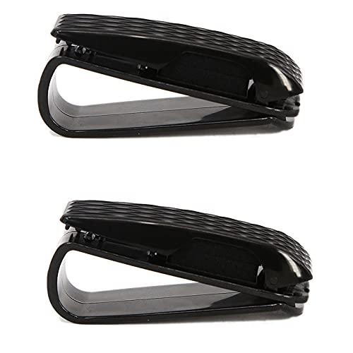 2 Paquetes de Soportes para Visera de Coche Dobles Gafas Portátiles para Visor de Coche Montura para Gafas con Clip para Tarjeta Universal Clip para Gafas de Sol Automóvil para Boletos, Negro