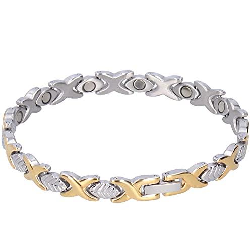 Pulsera de mujer de moda de alta resistencia Pulsera de acero de titanio chapada en oro de 18k sin níquel para regalos de cumpleaños para festivales
