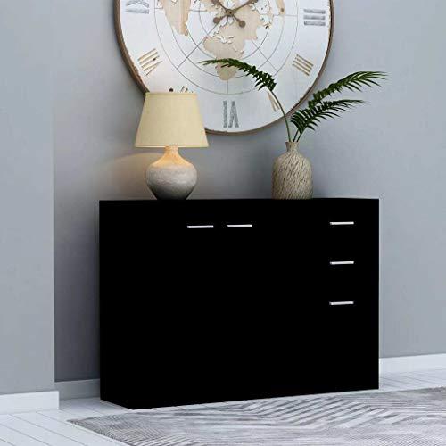 vidaXL Buffet Armoire Latérale Commode Meuble de Rangement avec 2 Portes et 3 Tiroirs Salon Chambre Maison Intérieur Noir 105x30x75 cm Aggloméré