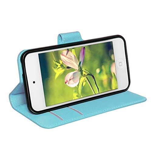 Schutzhülle für iPod Touch 7. 6. 5. Generation (2020-2012 Modelle des iPods), Leder, mit Taschen, Blau