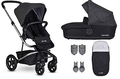 Easywalker Harvey² Kinderwagen + Babywanne + Fußsack + Adapter für Autositz + Höhenadapter Night Black – platinum Gestell (grau)
