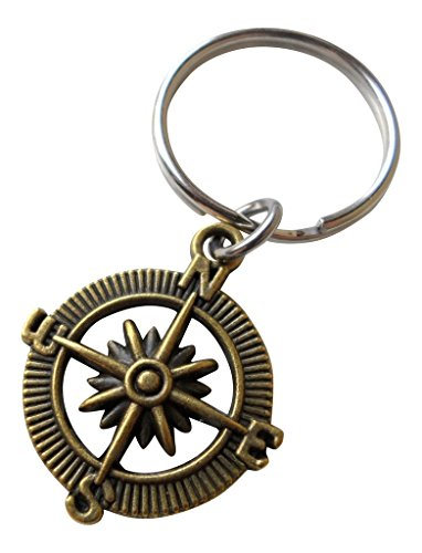 JewelryEveryday Bronze Open Metal Compass Keychain - I'd Be Lost Without You; 8 Year Aniversary Gift, Couples Keychain