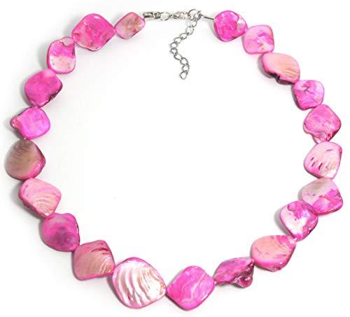 2LIVEfor Perlmutt Kette Perlen Pink Rosa Rose Grün Blau-Grau Bunt Schmuck Echt echte Perlenkette Muschel Steine Halskette Perlen Damen Pinke Perlenkette Perlmutt Schmuck Kette Naturstein (Pink)