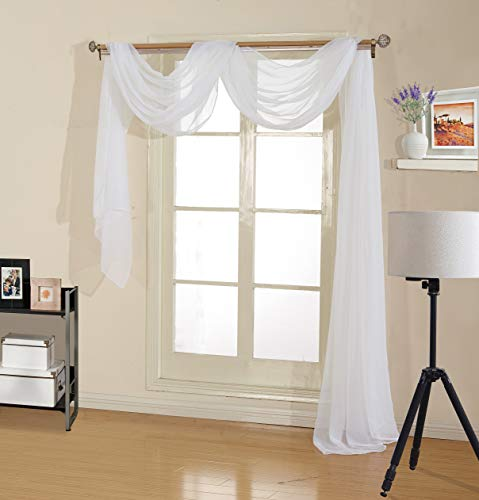 """Decotex Premium Quality Sheer Voile Scarf Valance for Home & Event Designs (54"""" X 216"""", White)"""