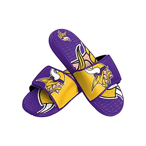 FOCO NFL Minnesota Vikings Herren Sport Shower Gel Slide Flip Flop Sandalen, Sport Shower Gel Slide Flip Flop Sandalen, Colorblock Big Logo, XL (13-14) (FFSSNFCBBLGGEL)