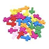 SUPVOX 50 Piezas Colgantes Encantos de Cruz de Madera para Collar Pulsera Fabricación de Joyas Decoración de Mesa