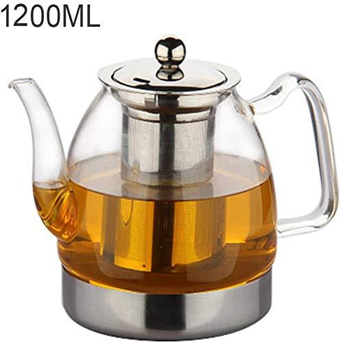 KONFA Teekanne Aus Glas Mit Transparenten Herausnehmbaren Brüheinheit Teekanne Borosilicatglas Bulk Tee Und Tee-Blumen Hitzebeständig, 1200 Ml,Clear,1200ml