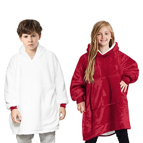 Manta con capucha para niños, bata de forro polar súper suave, cálida y cómoda, bata con capucha, manta de gran tamaño, súper suave, cómoda, manta con capucha, talla única, color rojo
