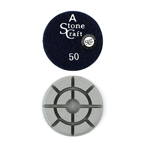 Stonecraft Boden Diamant Polierscheiben 80mm Körnung 50 für Beton, Marmor, Granit, Stein (Grit 50)