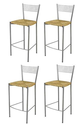 t m c s Tommychairs - Set 4 sgabelli Alti Modello Elegance per Cucina e Bar, Struttura in Acciaio Verniciata Colore Alluminio e Seduta in Paglia