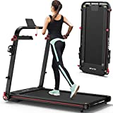 OMA 1012EB Folding Treadmill for Space Saver Apt Premium Portable Treadmill with 300lb Weight Capacity 48'x17.7' Extended Belt Fast Control Handlebar 36 Preset Programs 2.25HP Running Jogging for Home