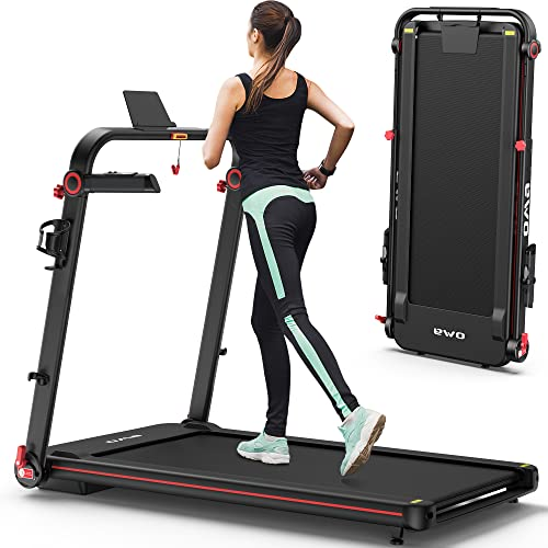 OMA 1012EB Folding Treadmill for Space Saver Apt Premium Portable Treadmill with 300lb Weight Capacity 48
