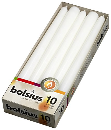 BOLSIUS Long Household White Taper Candles - 10-inch Unscented Premium Quality Wax - 7.5 Hour Long Burning Dripless Candles Bulk Pack of 10 for Home Decor, Wedding, Parties and Special Occasions